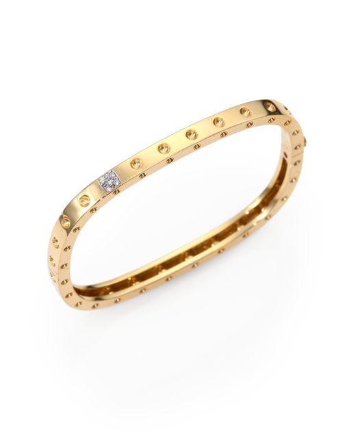 Roberto Coin | Metallic Pois Moi Diamond & 18k Yellow Gold Single-row Bangle Bracelet | Lyst