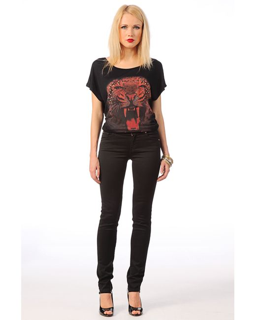 7 For All Mankind   Leather Like Knee Seam Skinny In Black   Lyst