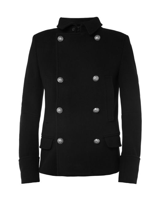Balmain | Black Double-breasted Long Coat for Men | Lyst