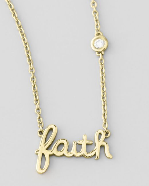 by sydney evan faith pendant bezel necklace in