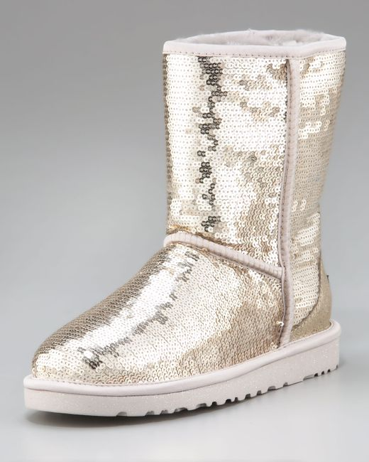 Ugg Sequined Sparkles Wool Lined Boot In Black Silver Lyst
