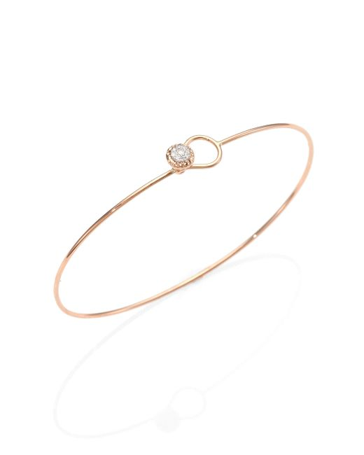 Phillips House | Metallic Love Always Diamond & 14k Rose Gold Wire Bangle Bracelet | Lyst