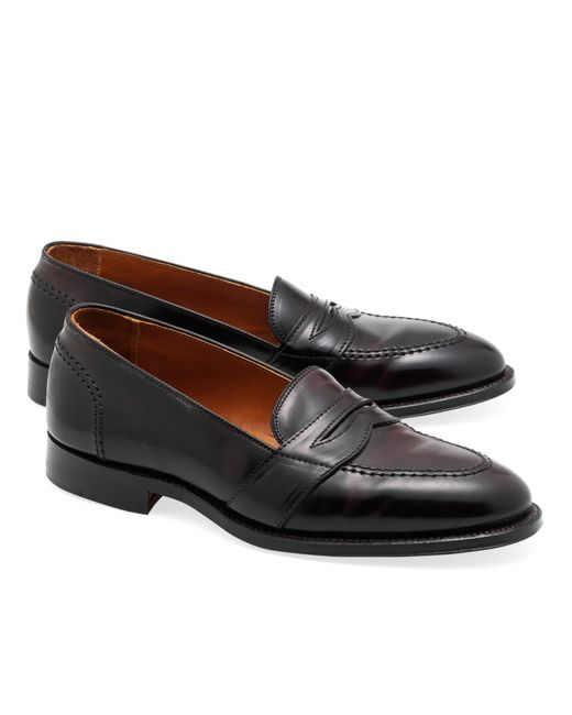 Brooks brothers cordovan low vamp loafers in purple for men lyst