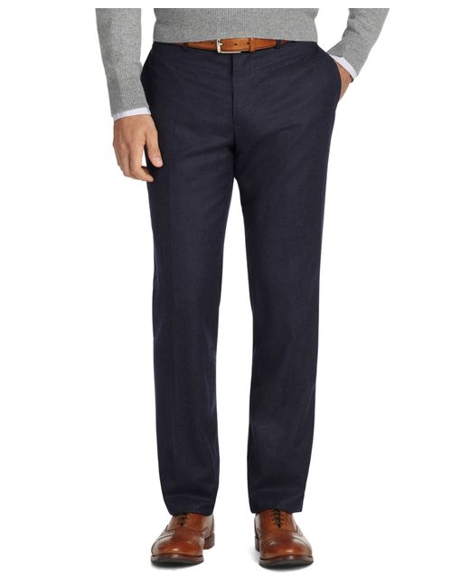 Brooks Brothers | Blue Milano Fit Plain-front Flannel Trousers for Men | Lyst