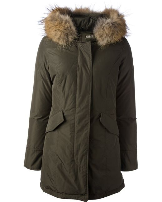 woolrich luxury arctic down parka with fur trimmed hood in green save 1 lyst. Black Bedroom Furniture Sets. Home Design Ideas