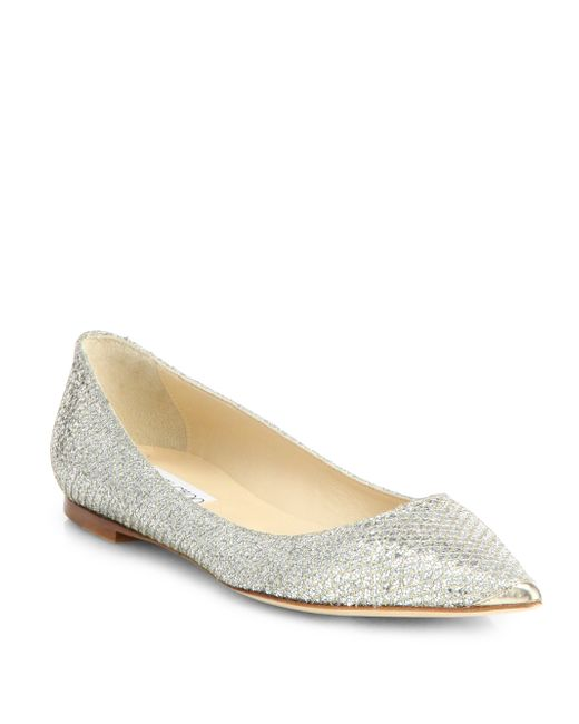 jimmy choo alina glitter point toe ballet flats in gold champagne lyst. Black Bedroom Furniture Sets. Home Design Ideas