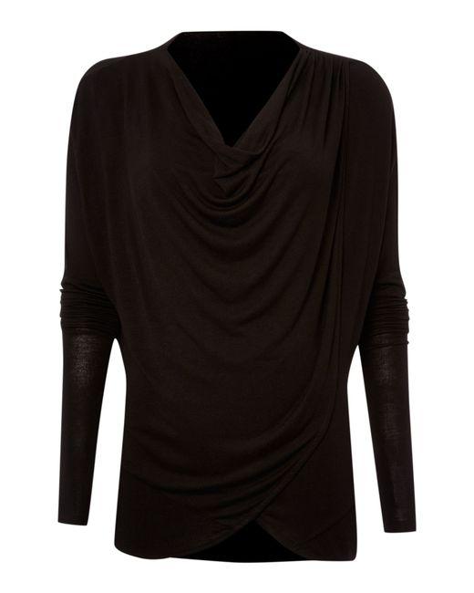 Label Lab | Black Wrap Over Cowl Knit Jumper | Lyst
