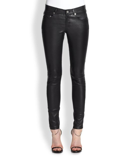 Saint Laurent | Black Faux Leather Five-pocket Pants | Lyst