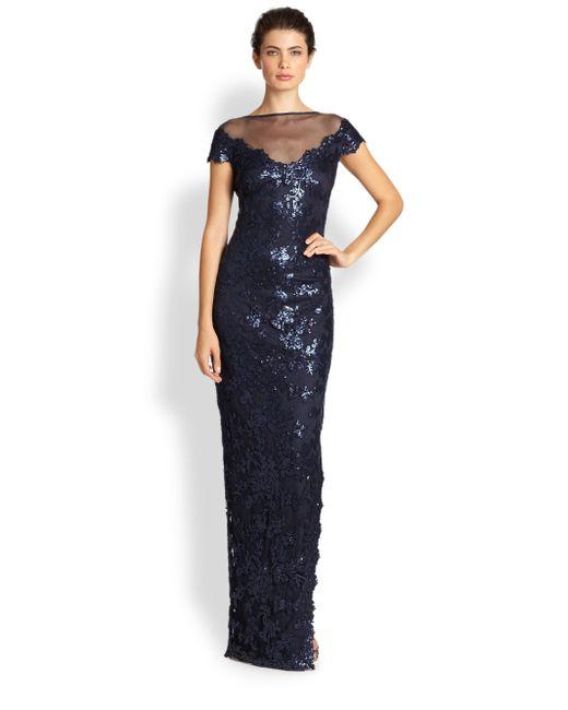 Tadashi Shoji   Blue Offtheshoulder Sequin Gown   Lyst