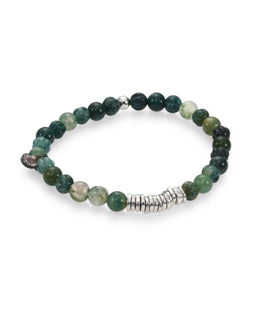 Tateossian | Green Men's Round Moss Agate Beaded Bracelet for Men | Lyst