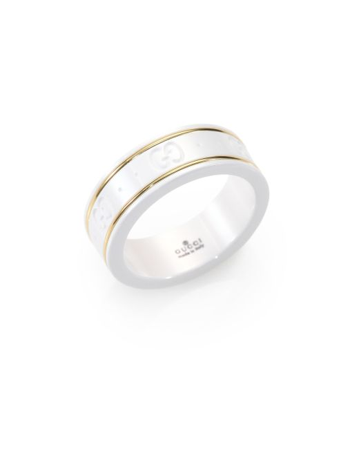 Gucci | Metallic Icon 18k Yellow Gold & Zirconia Thin Band Ring | Lyst