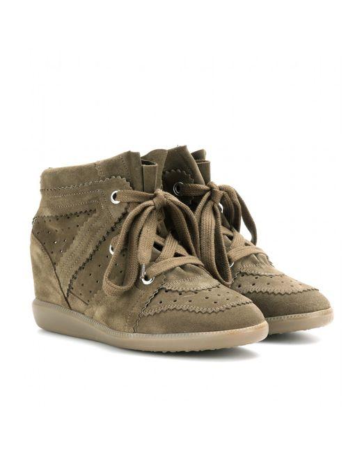 Isabel Marant | Brown Bobby Suede Wedge Sneakers | Lyst