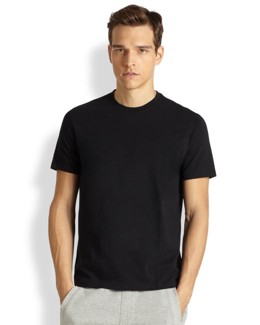 Saks Fifth Avenue | Black Pima Cotton Crewneck Tee for Men | Lyst