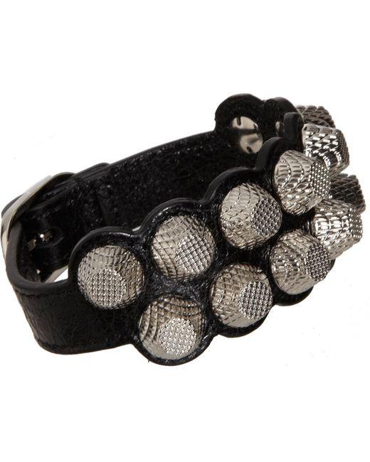 Balenciaga | Silver Giant Stud Leather Bracelet | Lyst