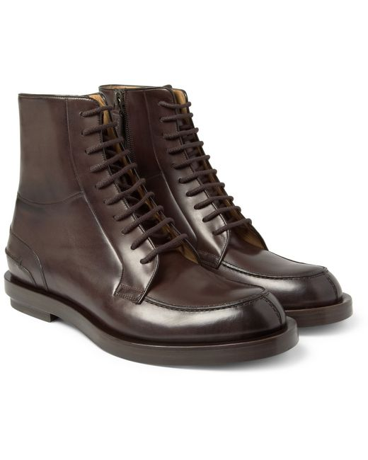 Gucci | Brown Burnished Laceup Leather Boots for Men | Lyst