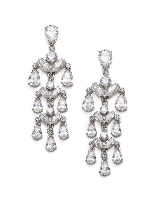 Adriana Orsini   Metallic Sterling Silver Sparkle Chandelier Earrings   Lyst