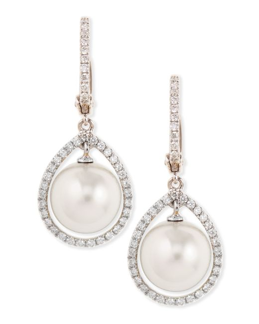 Eli Jewels | 18k White South Sea Pearl & Diamond Halo Earrings | Lyst