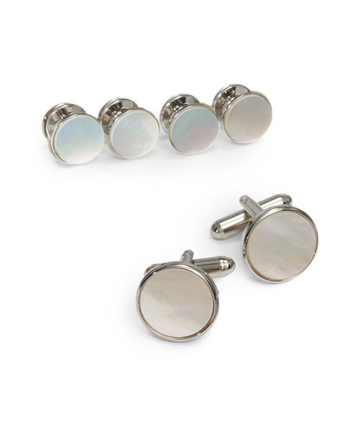 Saks fifth avenue Circle Cuff Link Shirt Stud Set in Silver for Men ...