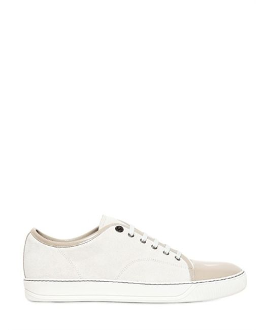 Lanvin Suede \u0026amp; Patent Leather Sneakers in Beige for Men (BEIGE ...