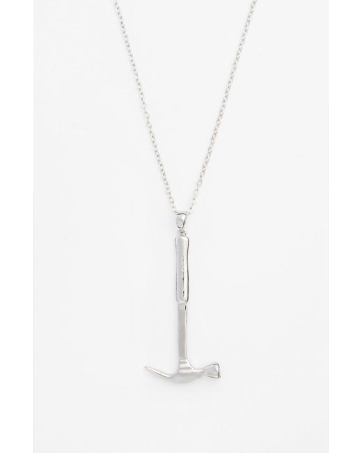 Mateo Bijoux | Metallic Hammer Sterling Silver Pendant Necklace for Men | Lyst