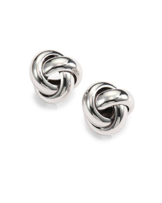 Saks Fifth Avenue   Metallic Sterling Silver Knot Stud Earrings   Lyst