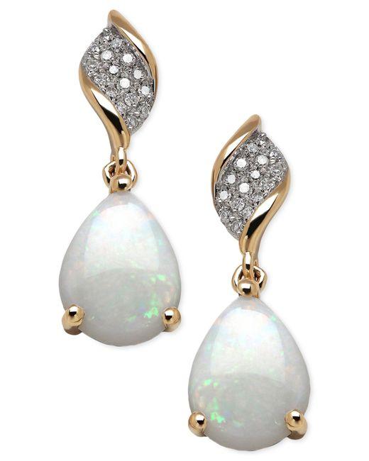 Macy's   Metallic Opal (1-5/8 Ct. T.w.) And Diamond (9/10 Ct. T.w.) Earrings In 10k Gold   Lyst