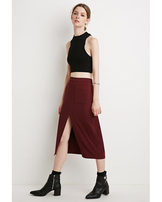 Forever 21 | Purple Contemporary Front Slit Pencil Skirt | Lyst