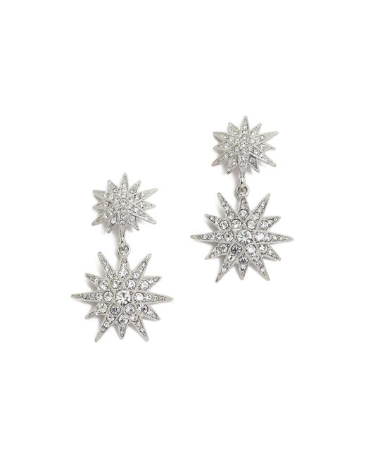 Kenneth Jay Lane | Metallic Crystal Star Earrings - Clear | Lyst