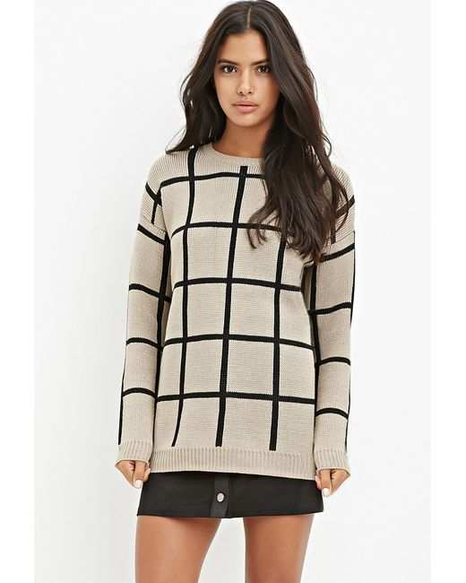 Forever 21 | Natural Grid-patterned Sweater | Lyst