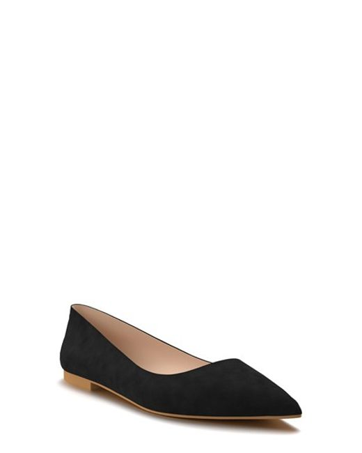 shoes of prey pointy toe flat in black black suede lyst