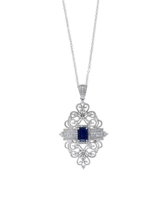 Effy | Blue Royale Bleu Sapphire, Diamond And 14k White Gold Filigree Pendant Necklace, 0.56tcw | Lyst