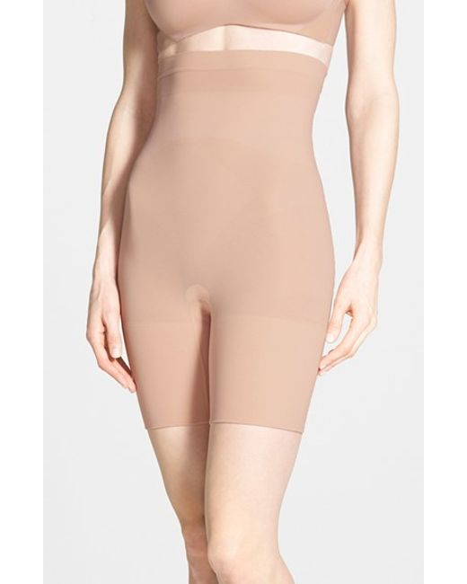 Spanx | Natural Spanx Higher Power Mid-thigh Shaping Shorts | Lyst