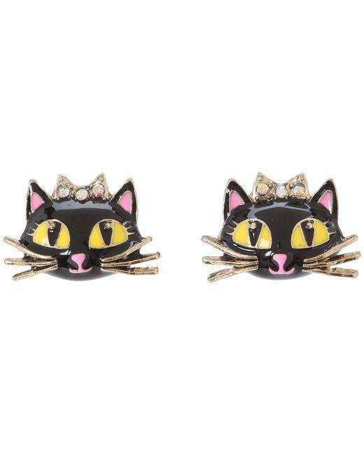 Betsey Johnson   Black Enchanted Forest Cat Stud Earrings   Lyst
