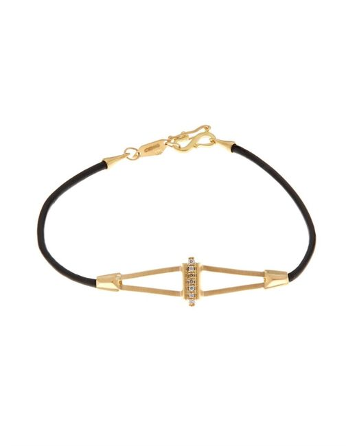 Monique Péan | Metallic Diamond, Yellow-Gold & Leather Bracelet | Lyst