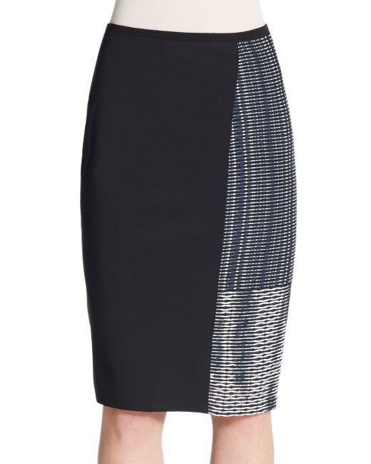 elie tahari pencil skirt in blue navy white lyst