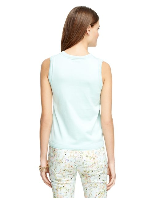 Brooks Brothers | Blue Silk And Cotton Sleeveless Shell | Lyst