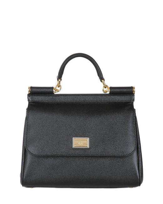 Dolce & Gabbana | Black Sicily Medium Textured-leather Tote | Lyst