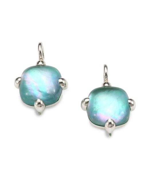 Pomellato | Green Agate Doublet & Sterling Silver Square Cabochon Drop Earrings | Lyst
