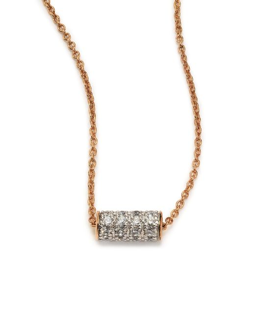 Ginette NY | Pink Diamond & 18k Rose Gold Mini Straw Necklace | Lyst