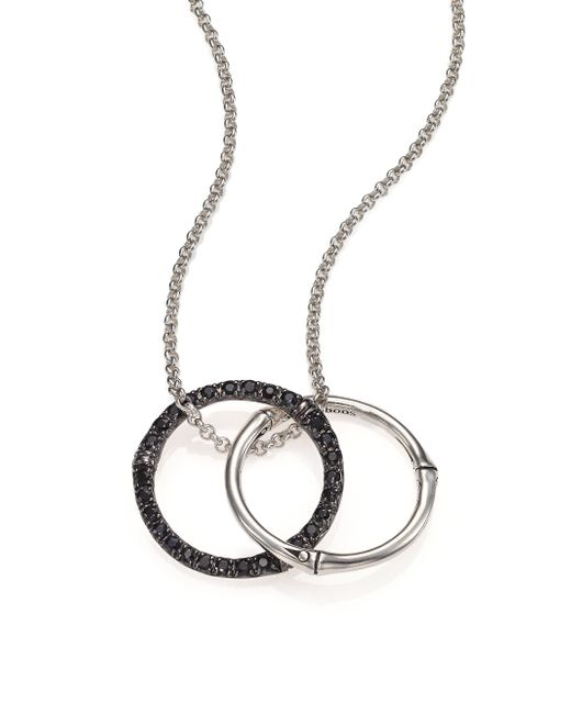 John Hardy | Metallic Bamboo Black Sapphire & Sterling Silver Medium Round Pendant Necklace | Lyst