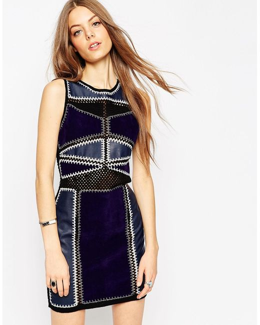 ASOS | Black Bodycon Dress In Patchwork Pu/suedette And Crochet | Lyst