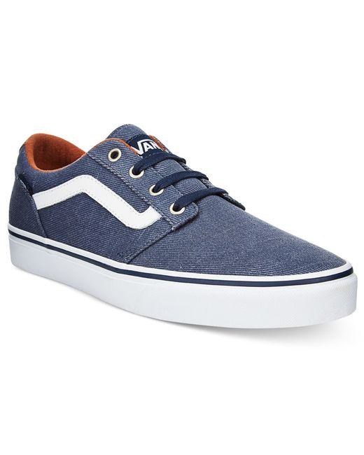 vans men 39 s chapman stripe low top sneakers in blue for men lyst. Black Bedroom Furniture Sets. Home Design Ideas