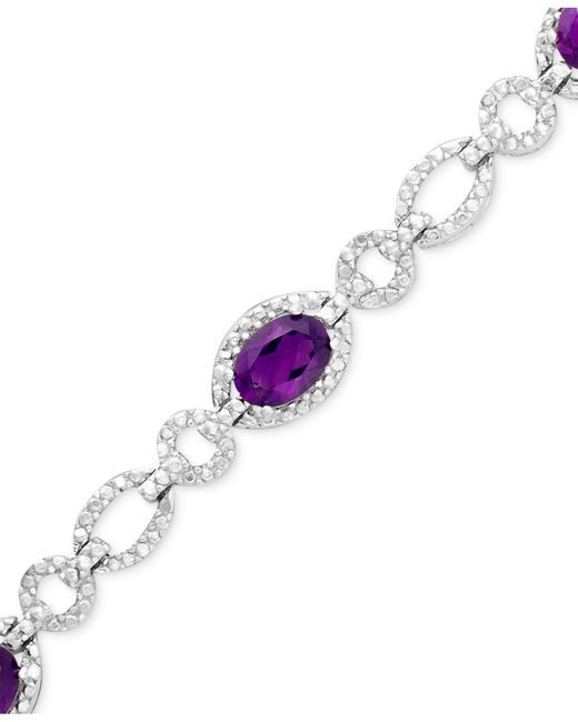 Macy's | Metallic Sterling Silver Bracelet, Amethyst (4 Ct. T.w.) And Diamond Accent | Lyst