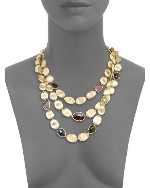 Marco Bicego | Metallic Lunaria Multicolor Tourmaline & 18k Yellow Gold Three-strand Bib Necklace | Lyst