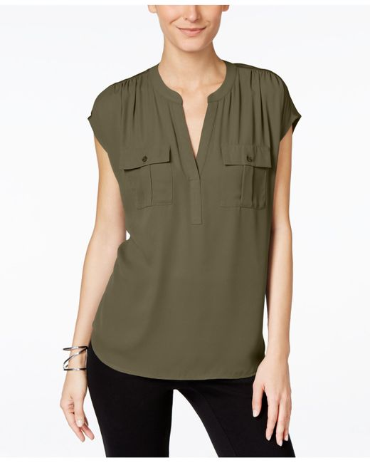 INC International Concepts | Green Mixed-media Utility Shirt, Only At Macy's | Lyst