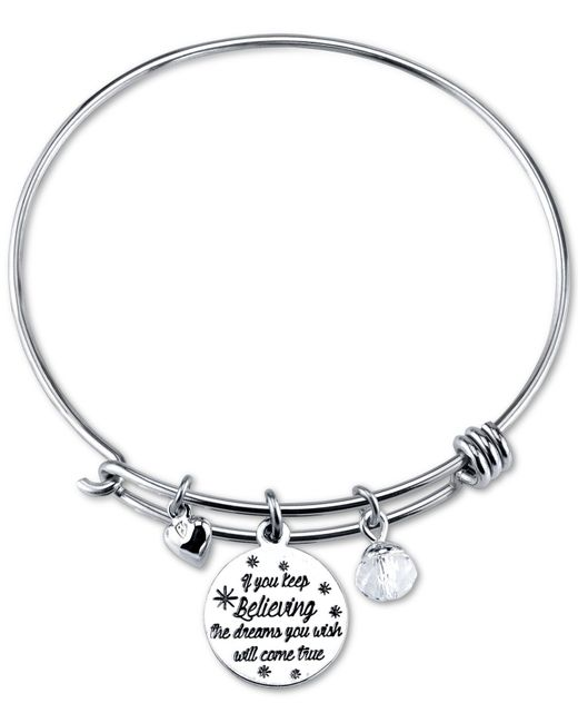 Disney | Metallic Cinderella Crystal Charm Bracelet In Stainless Steel With Silver-plated Charms | Lyst