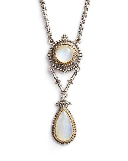 Konstantino | Metallic 'erato' Two Stone Drop Necklace | Lyst