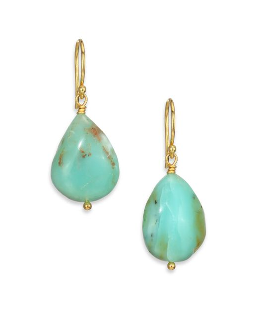 Lena Skadegard | Blue Peruvian Opal & 18k Yellow Gold Drop Earrings | Lyst