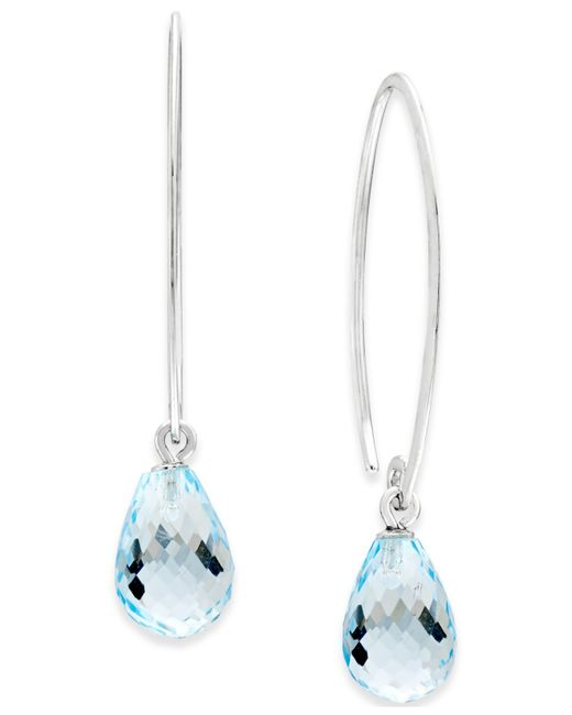 Macy's | Blue Topaz Sweep Earrings (8 Ct. T.w.) In Sterling Silver | Lyst