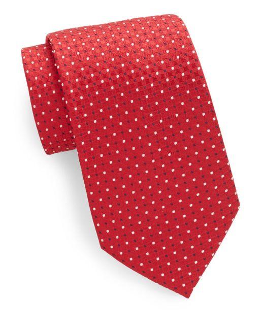 Saks Fifth Avenue   Red Silk Neat-pattern Tie for Men   Lyst
